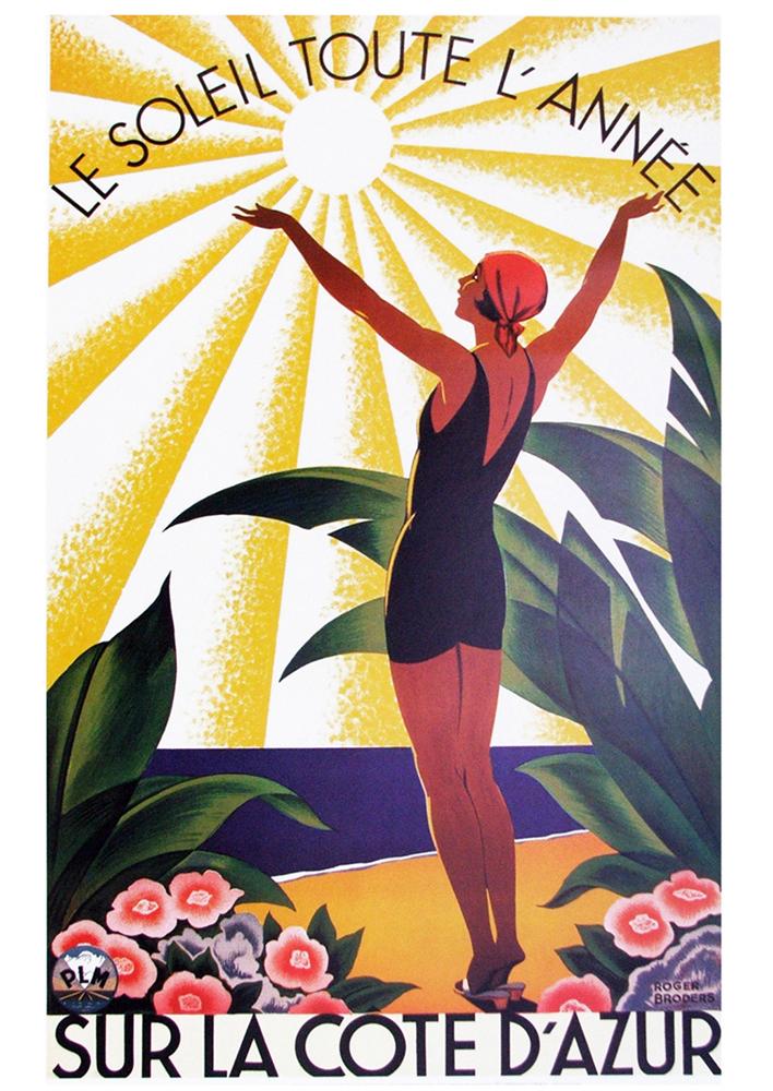 le soleil sur la cote d 39 azur 1931 by roger broders classic prints. Black Bedroom Furniture Sets. Home Design Ideas