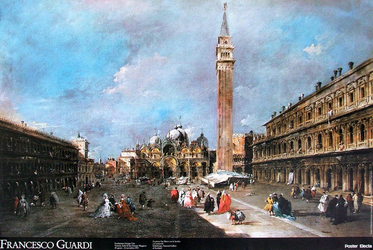 la piazza san marco con la basilica e il campanile by. Black Bedroom Furniture Sets. Home Design Ideas