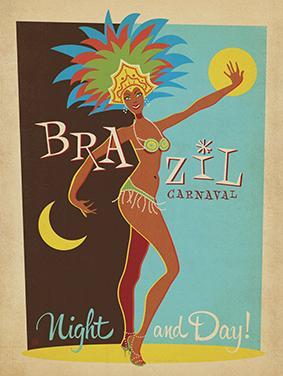 Vintage Advertising, Carnival, Brazil by Al Joeand
