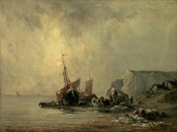 Boats near the Shore of Normandy by Richard Parkes Bonington