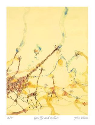 Giraffes and Balloon I by John Olsen