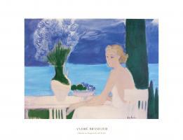 Chantal au bouquet devant la mer by Andre Brasilier