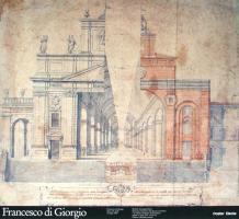 Michele Arcangelo Dolci spaccato prospettico del duomo di urbino e progetto di rifacimento matita su carta.