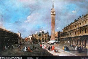 La Piazza San Marco con la basilica e il campanile by Francesco Guardi